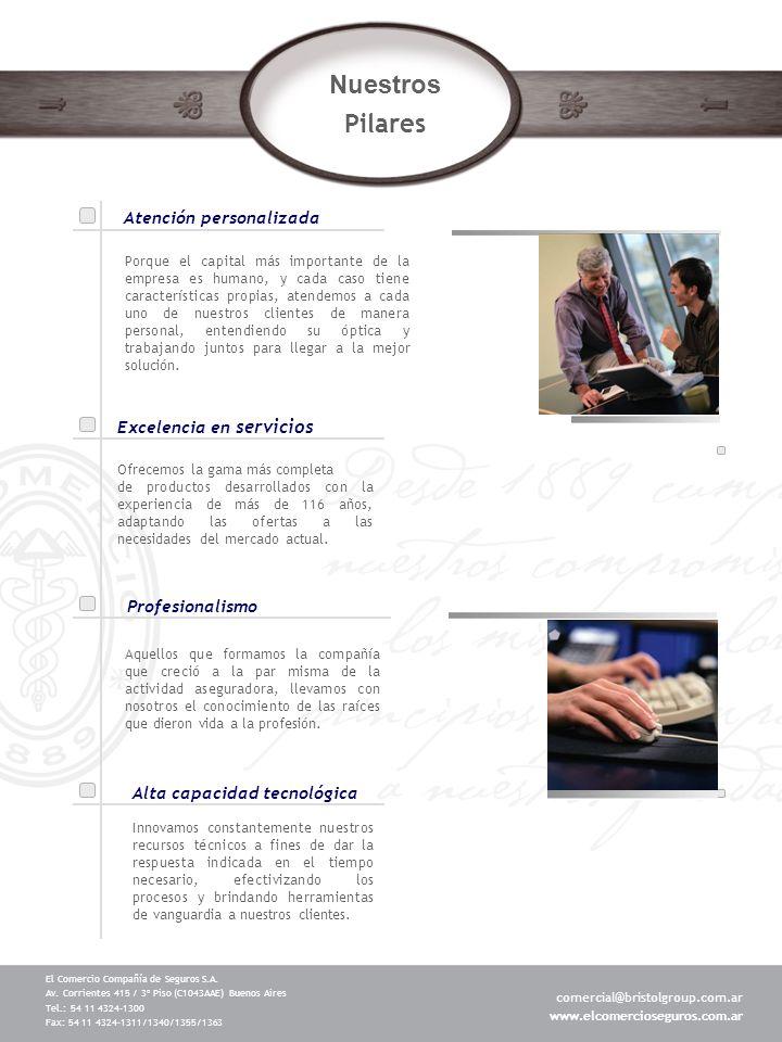 Nuestros Pilares Atención personalizada Excelencia en servicios