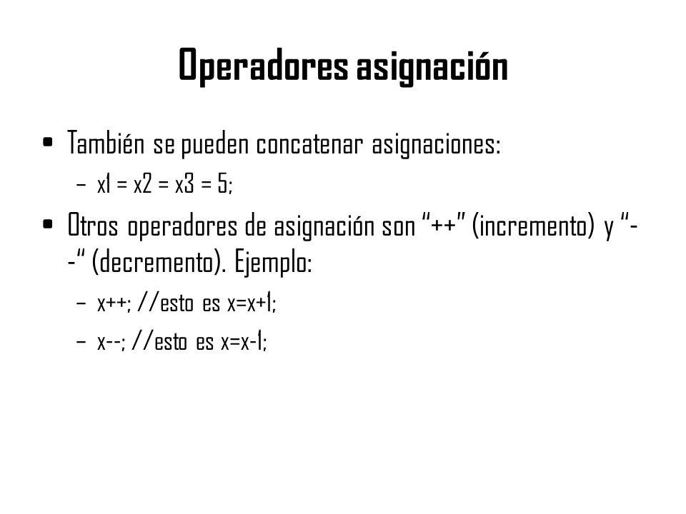 Operadores asignación