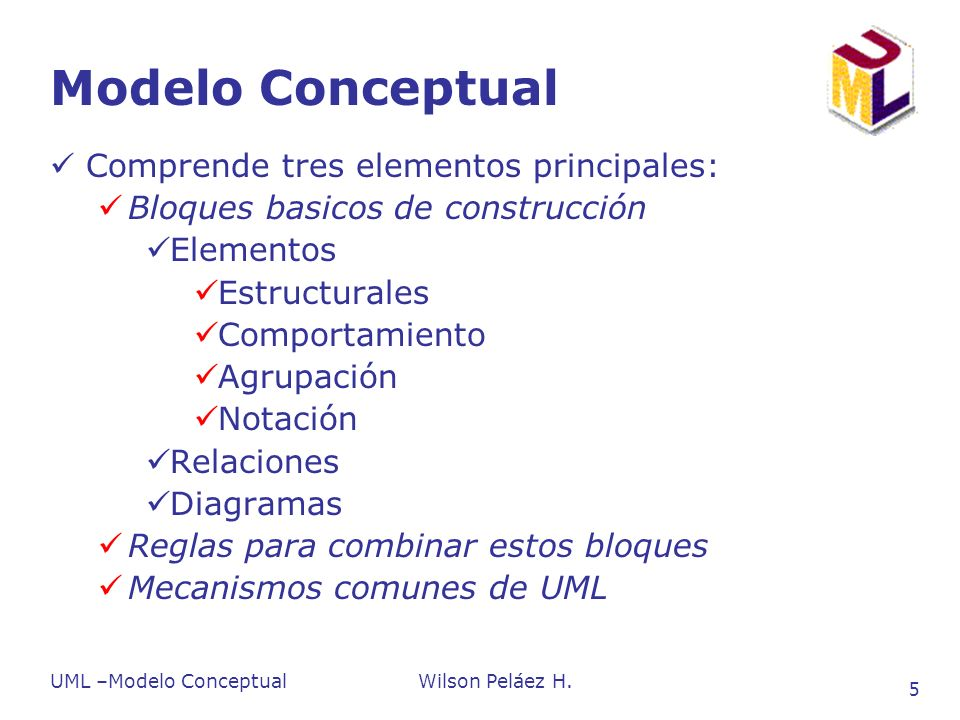 Modelo Conceptual Comprende tres elementos principales: