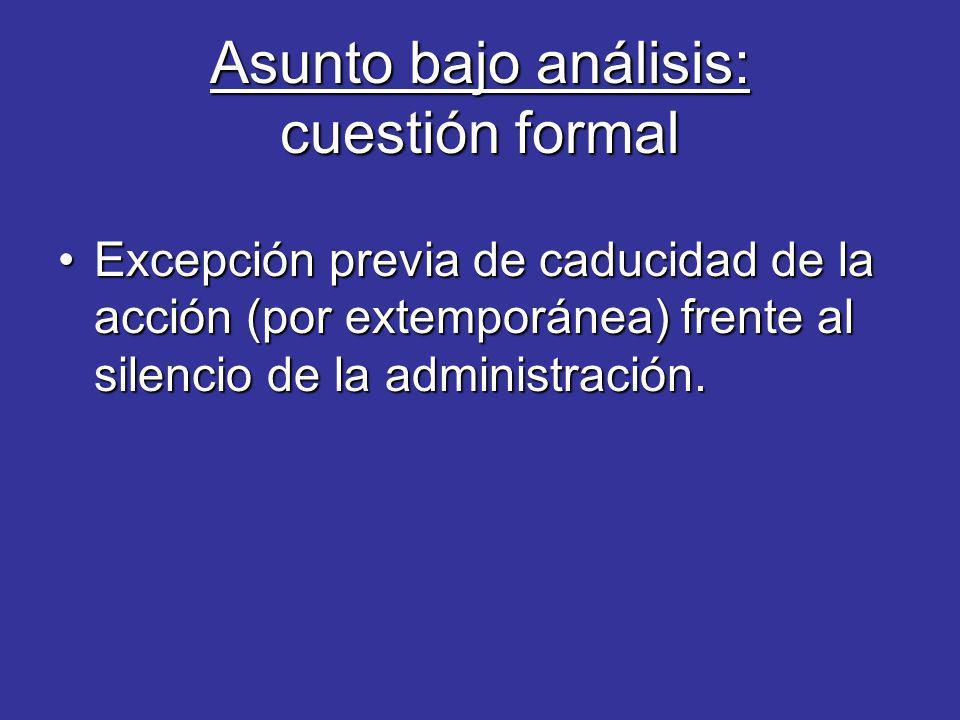 Asunto bajo análisis: cuestión formal