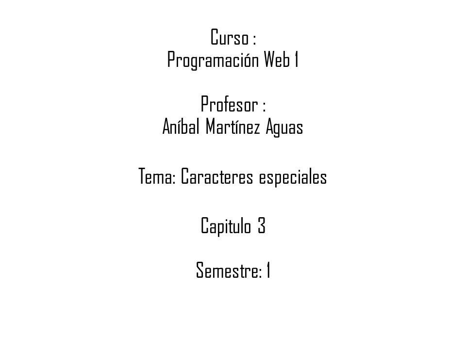 Curso : Programación Web 1 Profesor : Aníbal Martínez Aguas