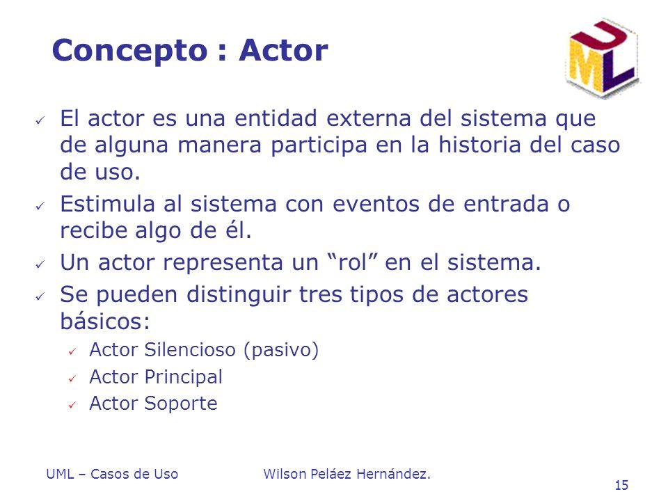 Introduccion a UML Concepto : Actor. El actor es una entidad externa del sistema que de alguna manera participa en la historia del caso de uso.