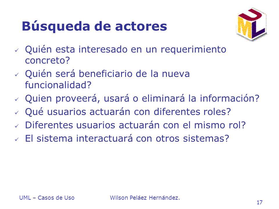 Búsqueda de actores Quién esta interesado en un requerimiento concreto Quién será beneficiario de la nueva funcionalidad