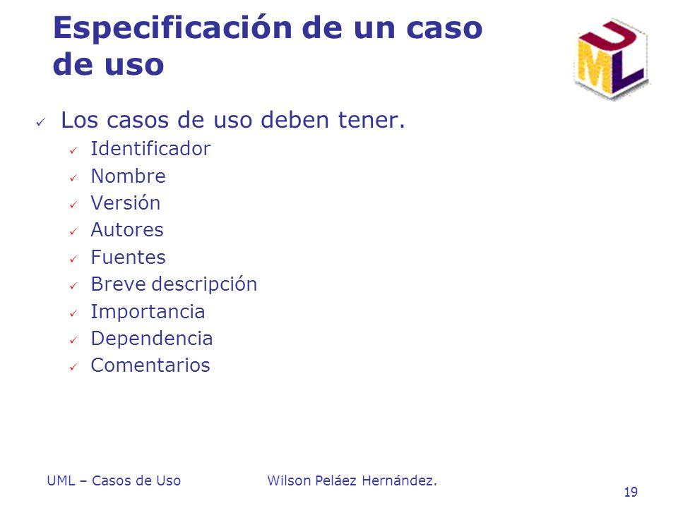 Especificación de un caso de uso