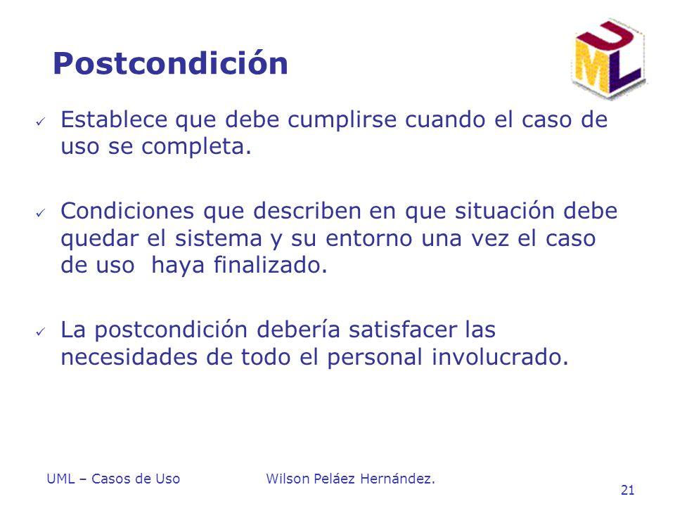 Postcondición Establece que debe cumplirse cuando el caso de uso se completa.