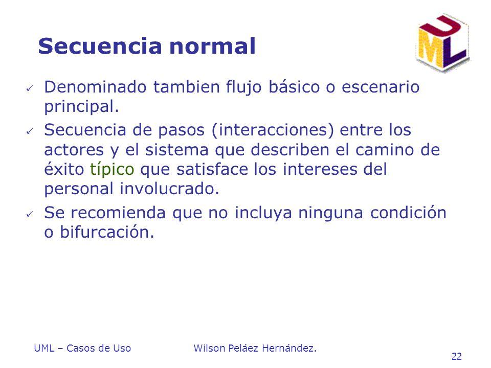 Secuencia normal Denominado tambien flujo básico o escenario principal.