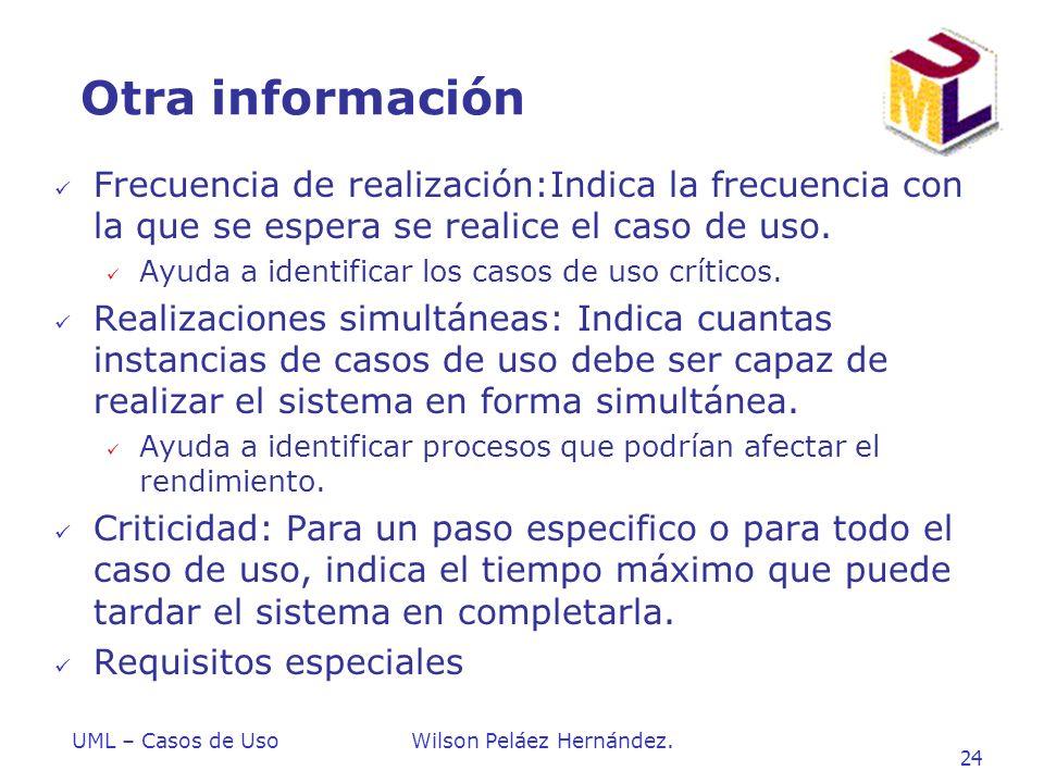 Otra información Frecuencia de realización:Indica la frecuencia con la que se espera se realice el caso de uso.
