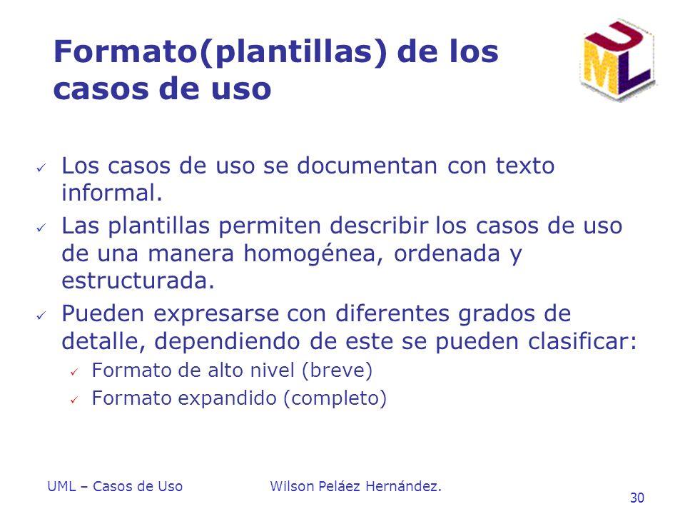 Formato(plantillas) de los casos de uso