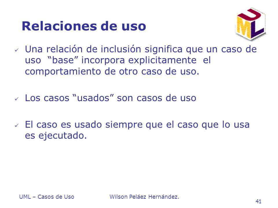 Relaciones de uso Una relación de inclusión significa que un caso de uso base incorpora explicitamente el comportamiento de otro caso de uso.
