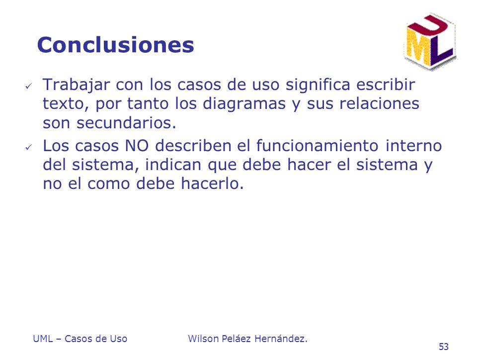 Conclusiones Trabajar con los casos de uso significa escribir texto, por tanto los diagramas y sus relaciones son secundarios.
