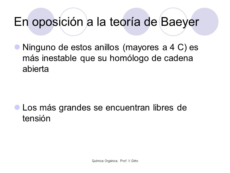 En oposición a la teoría de Baeyer