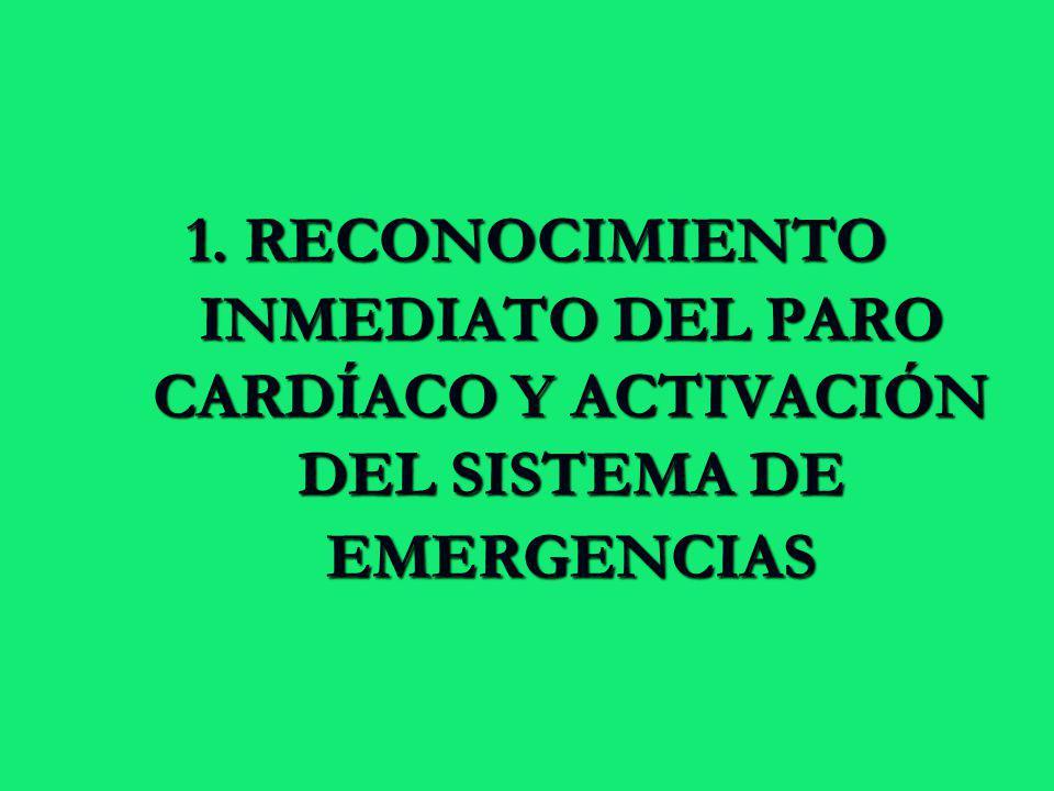 1. RECONOCIMIENTO INMEDIATO DEL PARO CARDÍACO Y ACTIVACIÓN DEL SISTEMA DE EMERGENCIAS