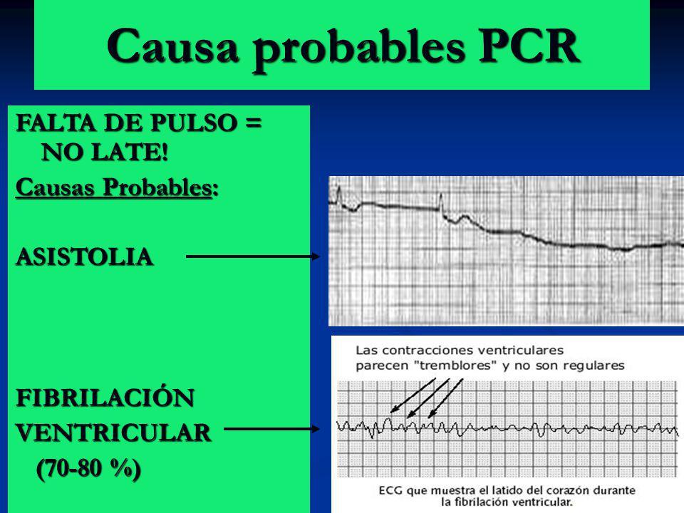 Causa probables PCR FALTA DE PULSO = NO LATE! Causas Probables: