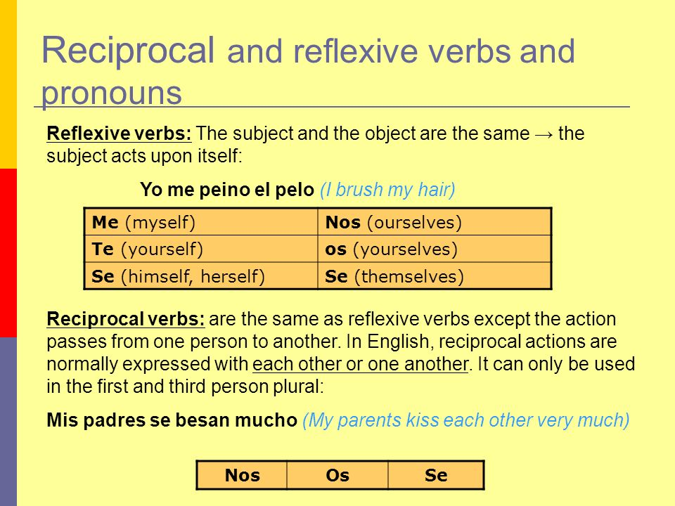 Reciprocal and reflexive verbs and pronouns