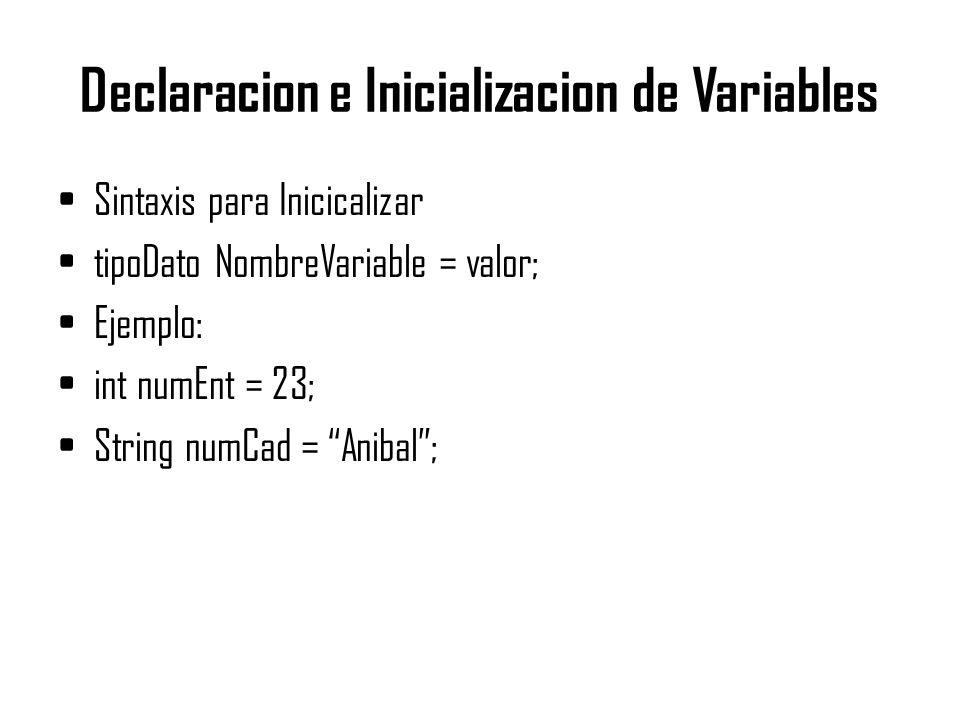 Declaracion e Inicializacion de Variables