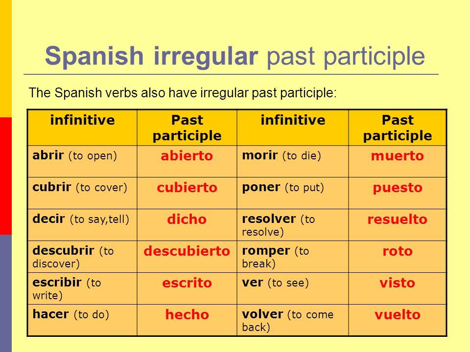Spanish irregular past participle