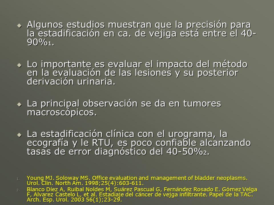 La principal observación se da en tumores macroscópicos.