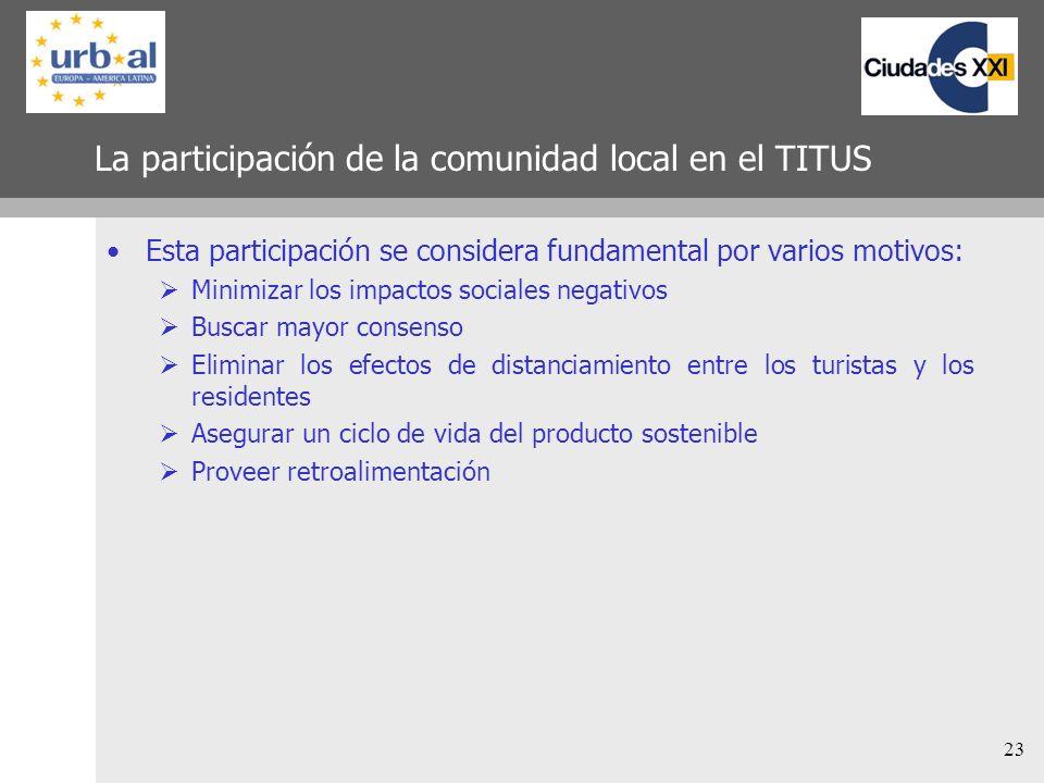 La participación de la comunidad local en el TITUS