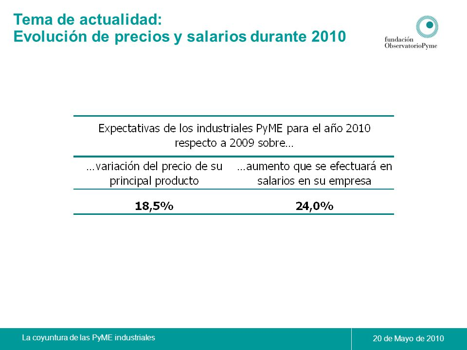 Evolución de precios y salarios durante 2010