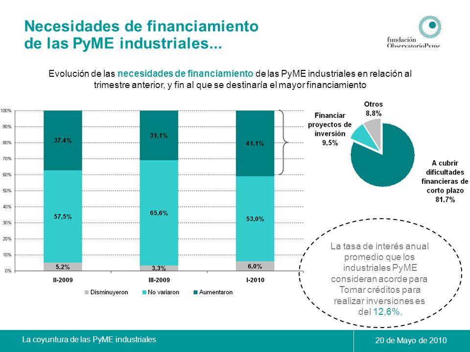 Necesidades de financiamiento de las PyME industriales...