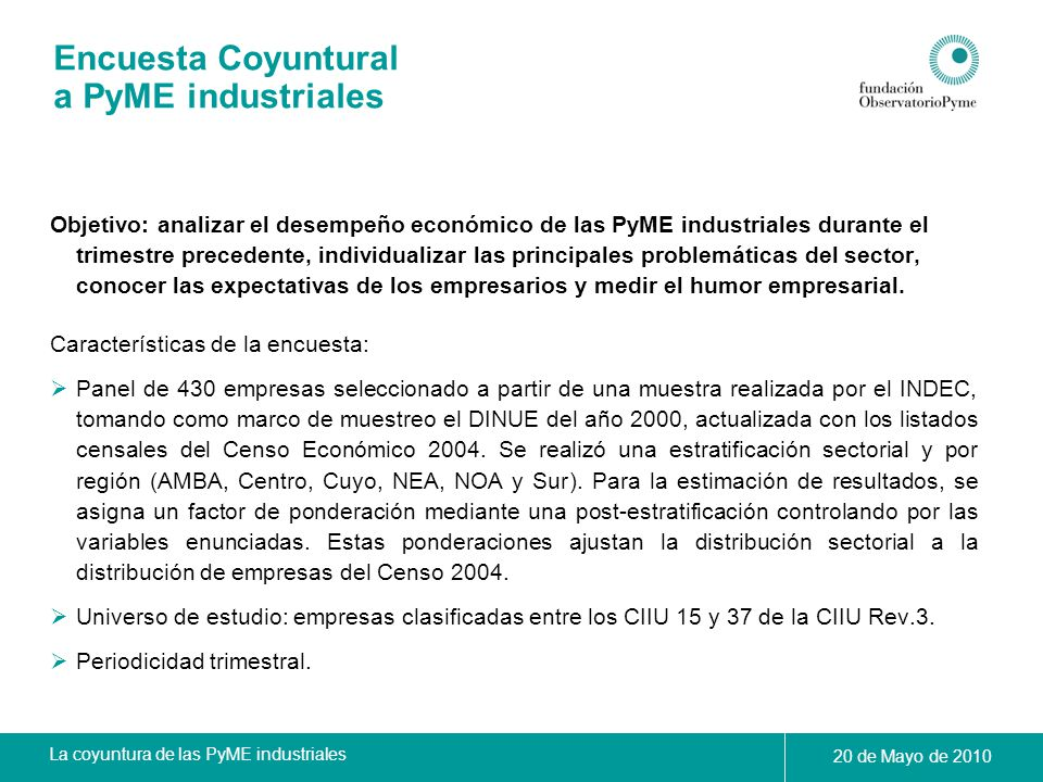 Encuesta Coyuntural a PyME industriales