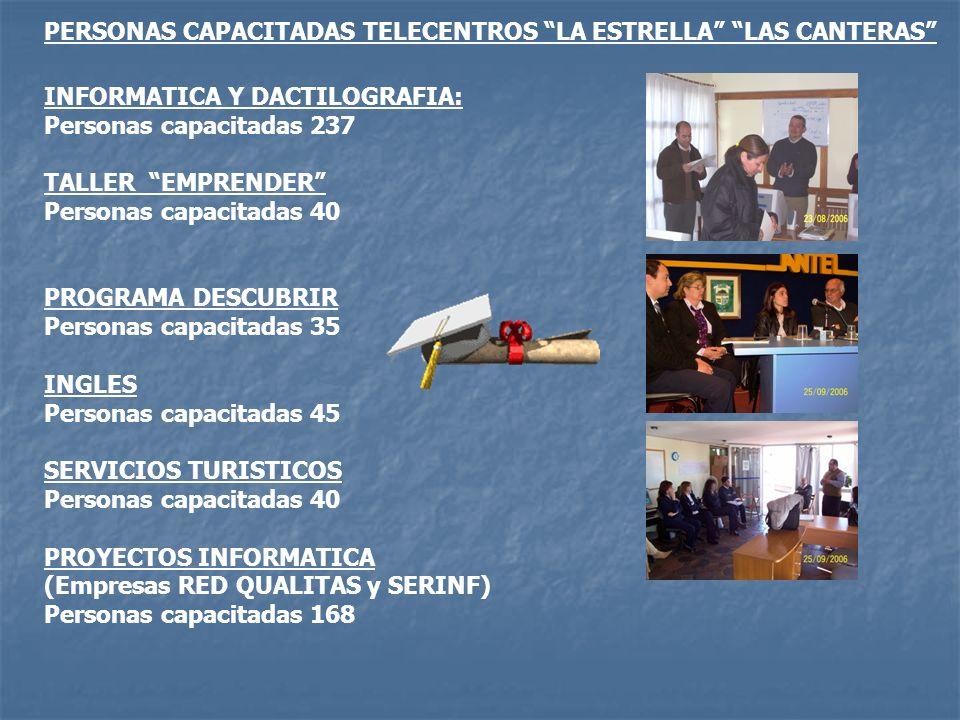 PERSONAS CAPACITADAS TELECENTROS LA ESTRELLA LAS CANTERAS
