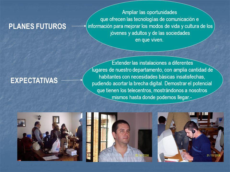 PLANES FUTUROS EXPECTATIVAS Ampliar las oportunidades