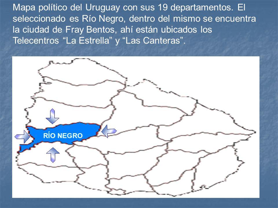 Mapa político del Uruguay con sus 19 departamentos