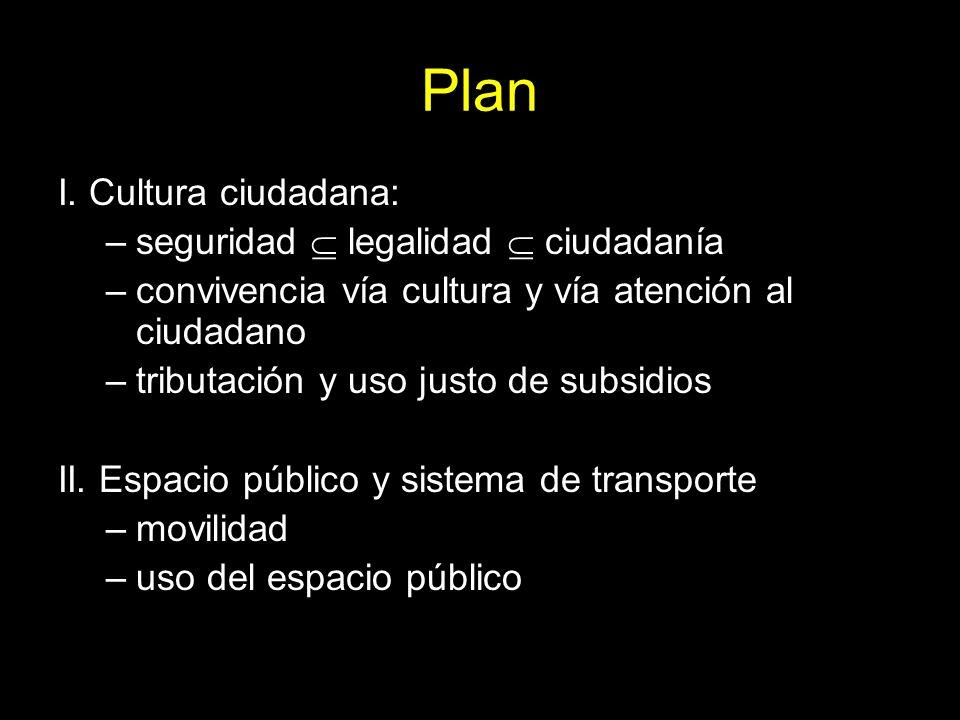 Plan I. Cultura ciudadana: seguridad  legalidad  ciudadanía