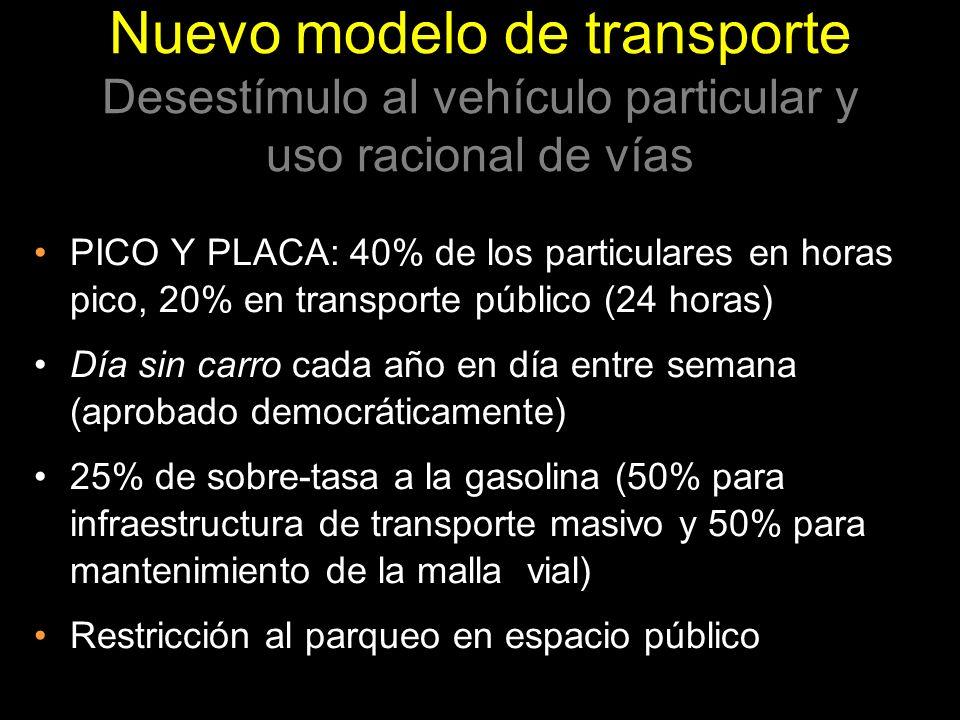 Nuevo modelo de transporte Desestímulo al vehículo particular y uso racional de vías