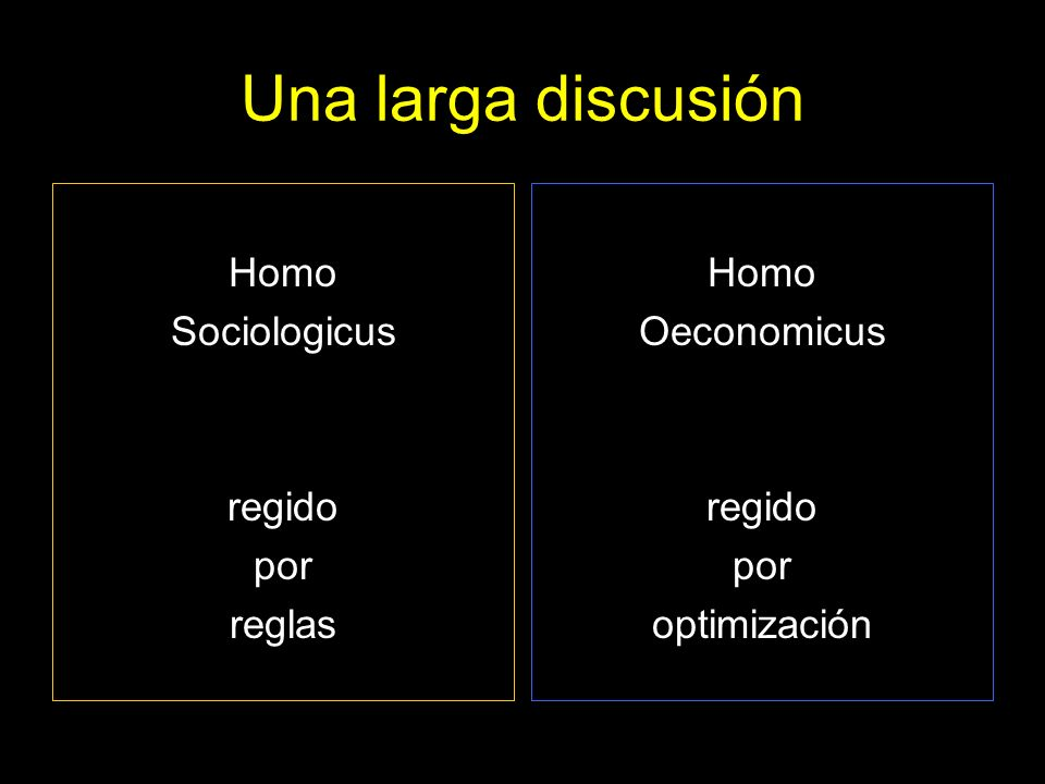 Una larga discusión Homo Sociologicus regido por reglas Homo