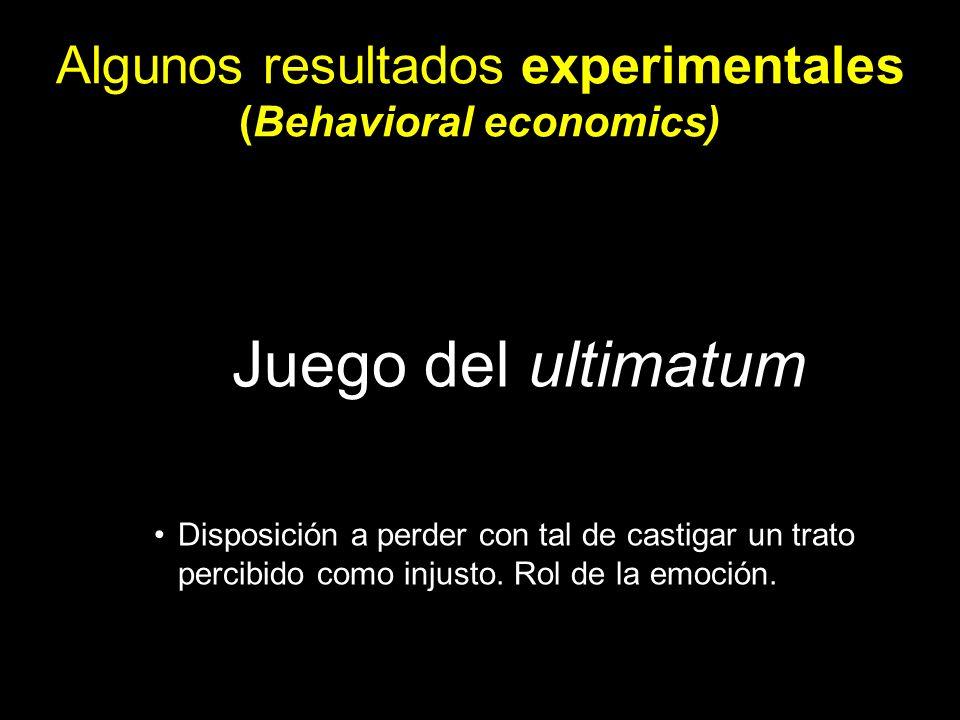 Algunos resultados experimentales (Behavioral economics)