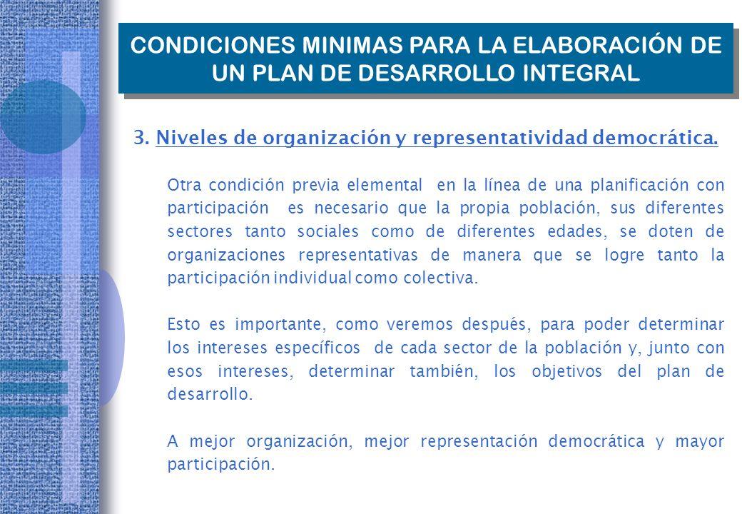 CONDICIONES MINIMAS PARA LA ELABORACIÓN DE UN PLAN DE DESARROLLO INTEGRAL