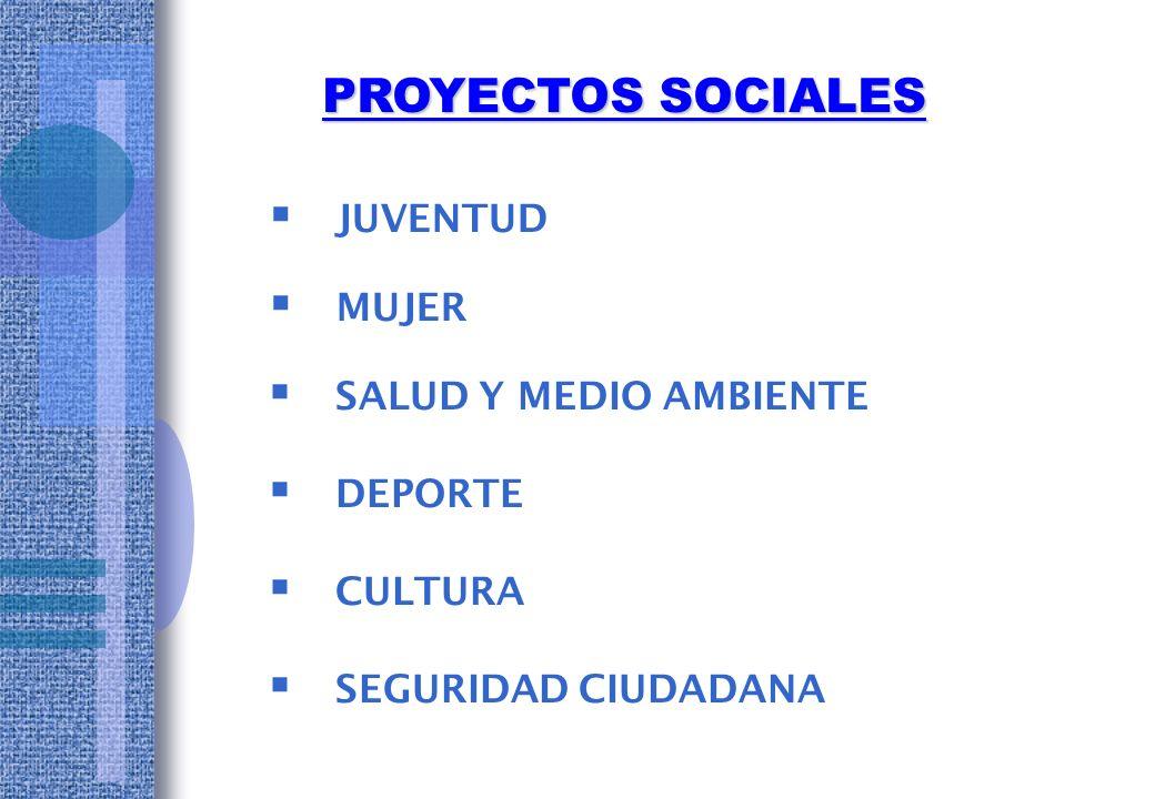 PROYECTOS SOCIALES JUVENTUD MUJER SALUD Y MEDIO AMBIENTE DEPORTE
