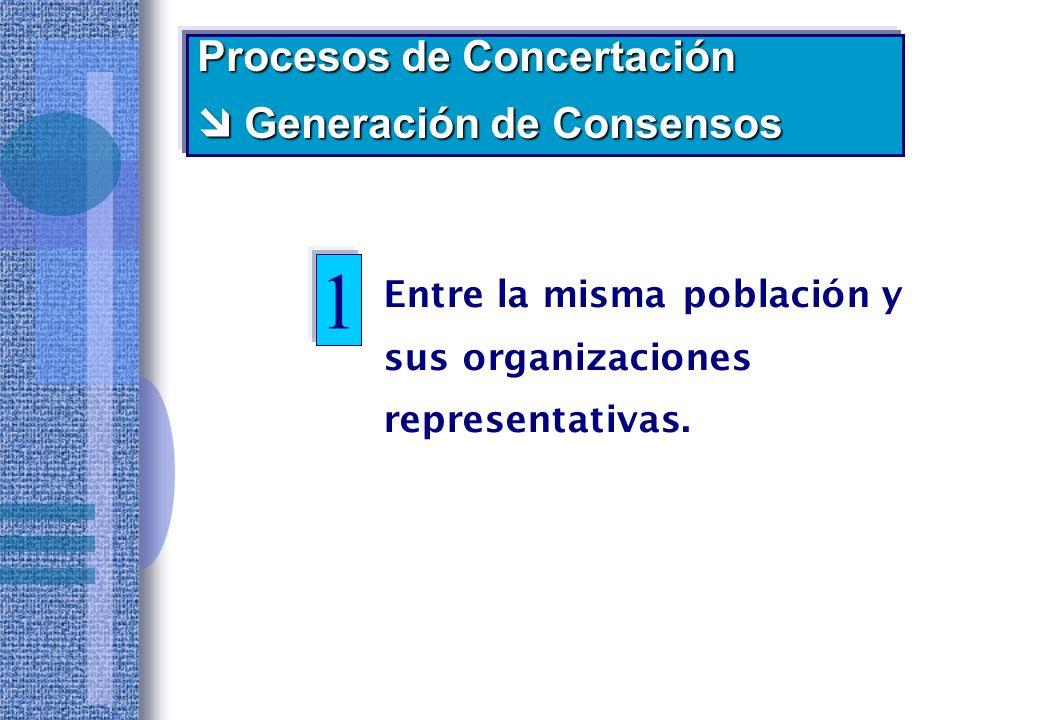 1 Procesos de Concertación  Generación de Consensos