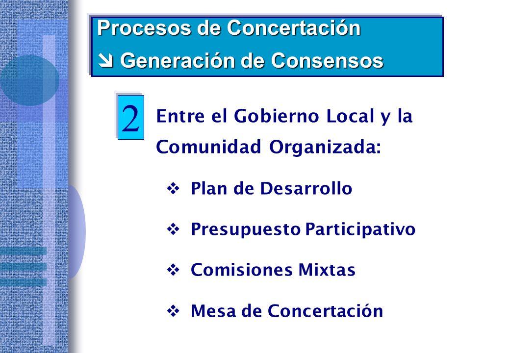 2 Procesos de Concertación  Generación de Consensos