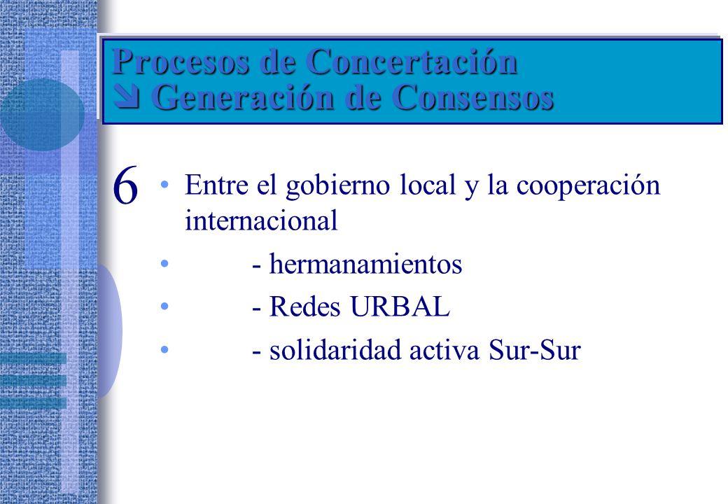 Procesos de Concertación  Generación de Consensos