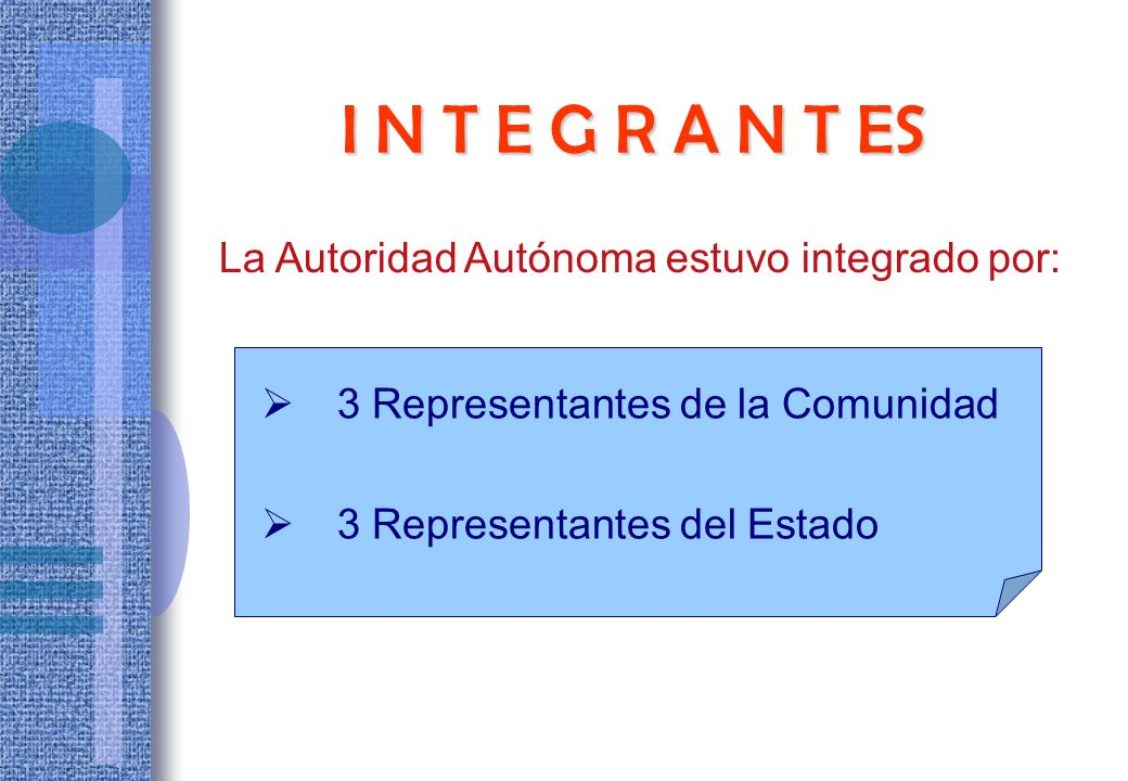 I N T E G R A N T ES La Autoridad Autónoma estuvo integrado por:
