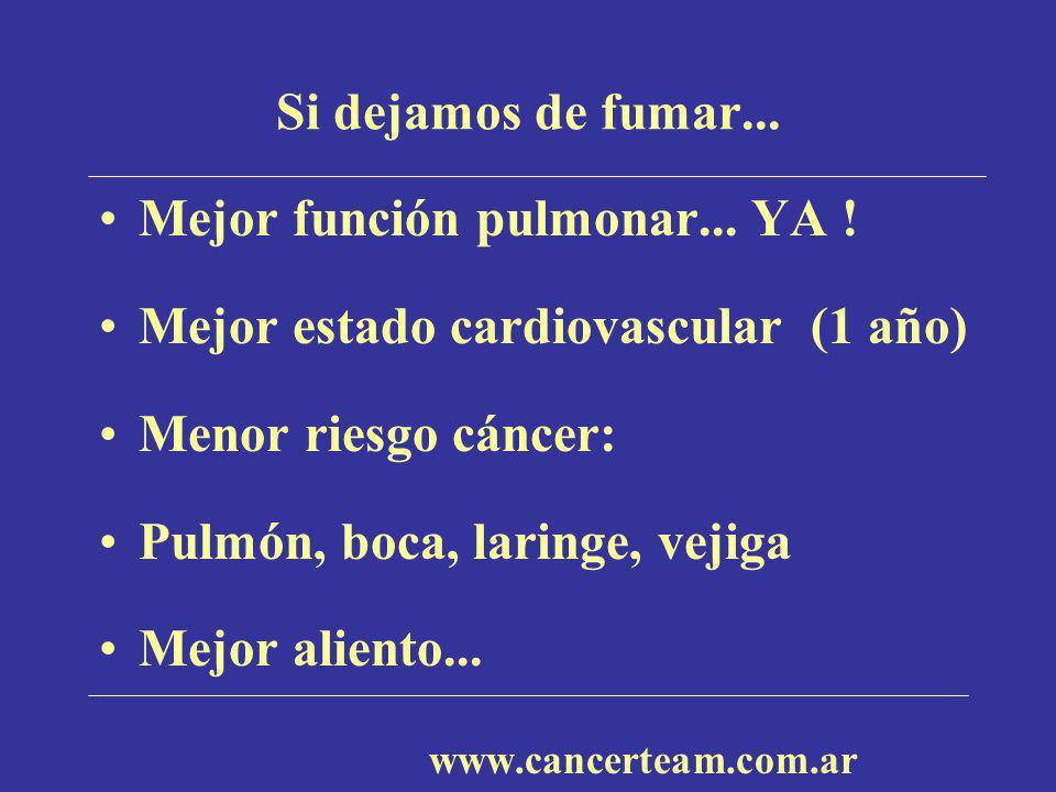 Si dejamos de fumar... Mejor función pulmonar... YA ! Mejor estado cardiovascular (1 año) Menor riesgo cáncer: