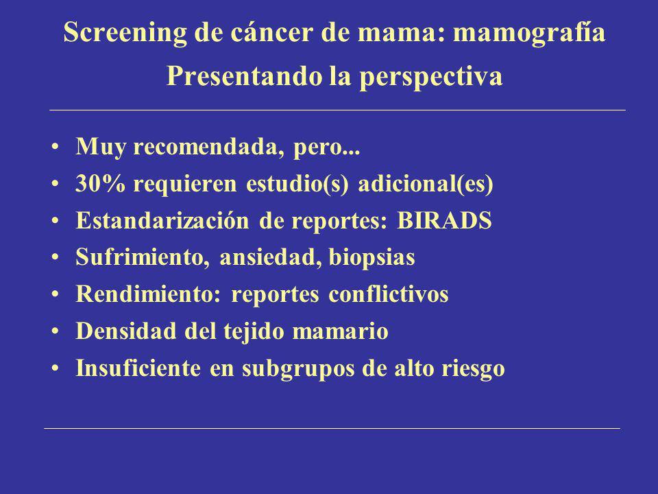 Screening de cáncer de mama: mamografía Presentando la perspectiva