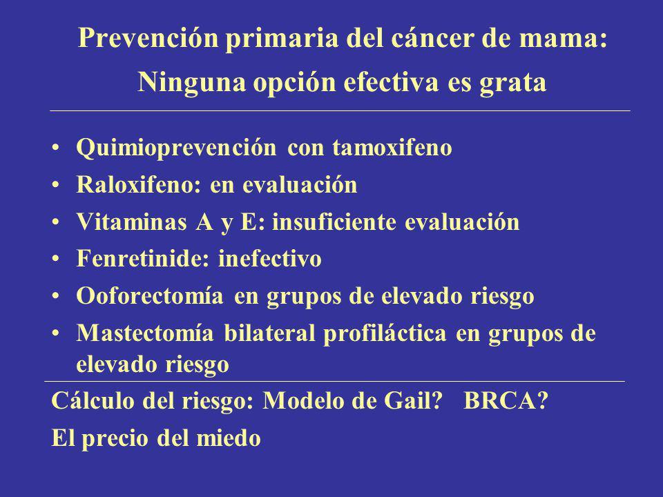 Prevención primaria del cáncer de mama: Ninguna opción efectiva es grata
