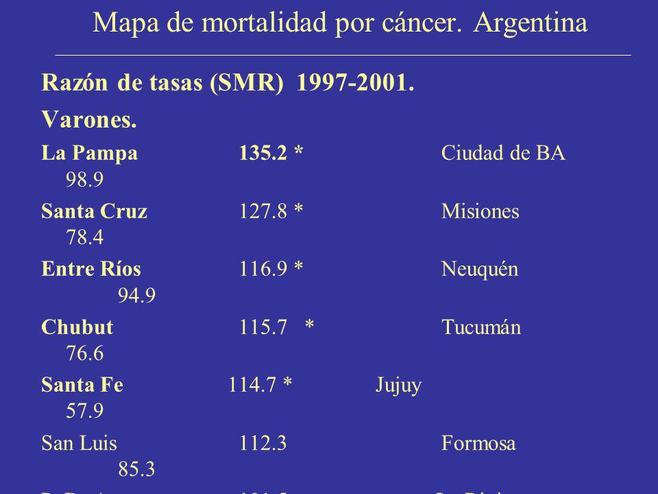 Mapa de mortalidad por cáncer. Argentina