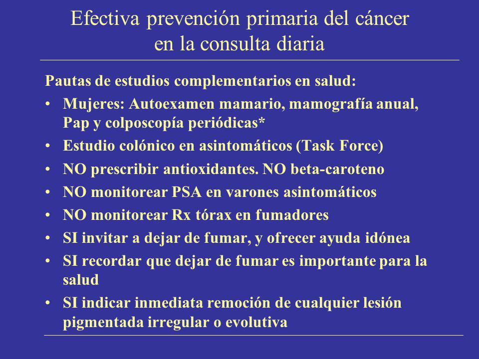 Efectiva prevención primaria del cáncer en la consulta diaria