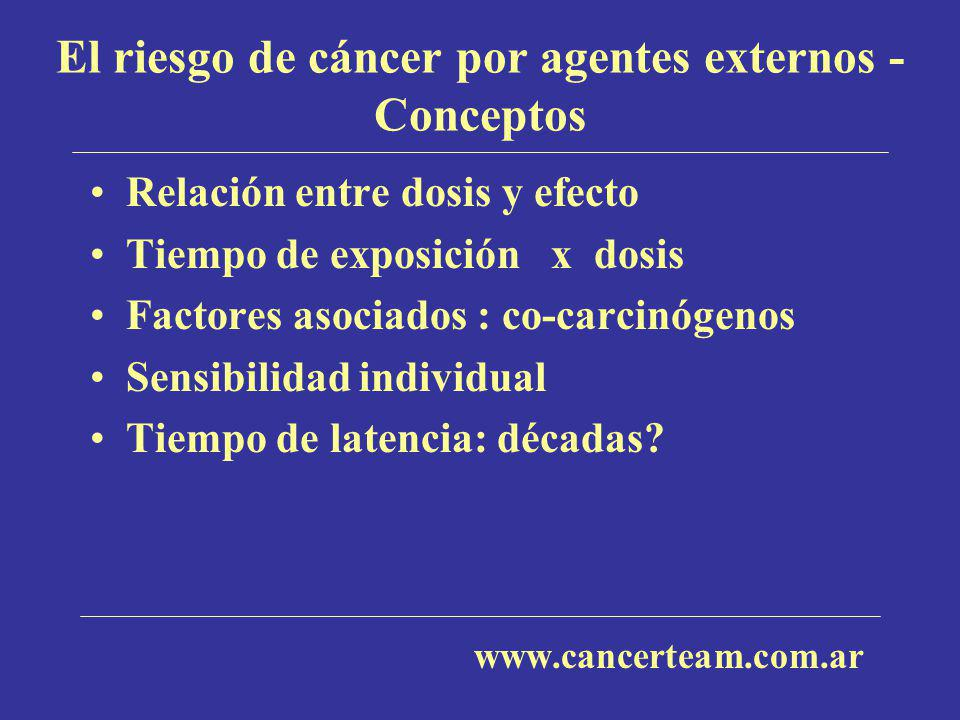 El riesgo de cáncer por agentes externos - Conceptos