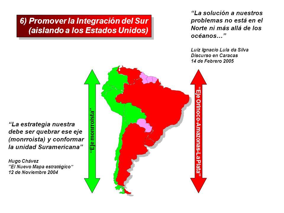 6) Promover la Integración del Sur (aislando a los Estados Unidos)