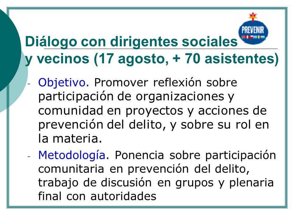 Diálogo con dirigentes sociales y vecinos (17 agosto, + 70 asistentes)