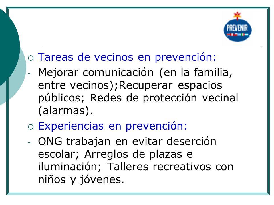 Tareas de vecinos en prevención: