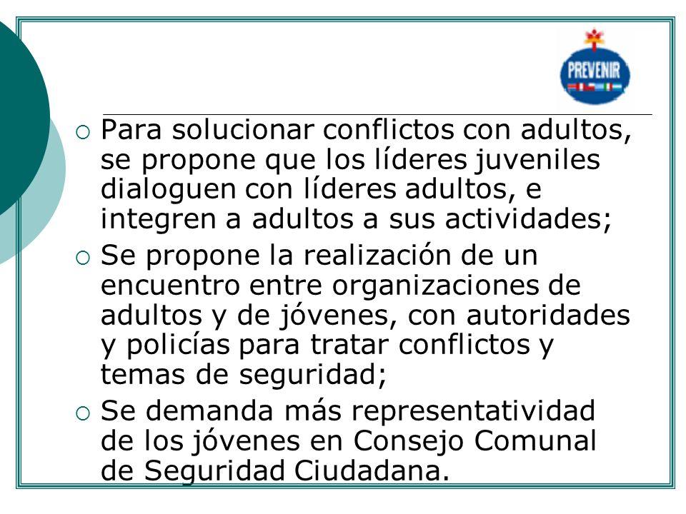 . Para solucionar conflictos con adultos, se propone que los líderes juveniles dialoguen con líderes adultos, e integren a adultos a sus actividades;