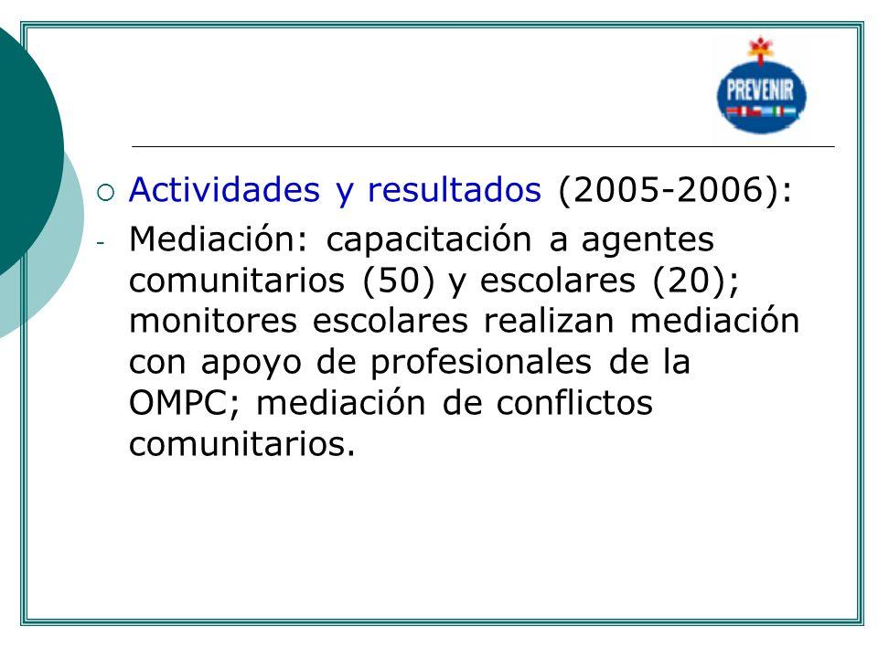 Actividades y resultados (2005-2006):