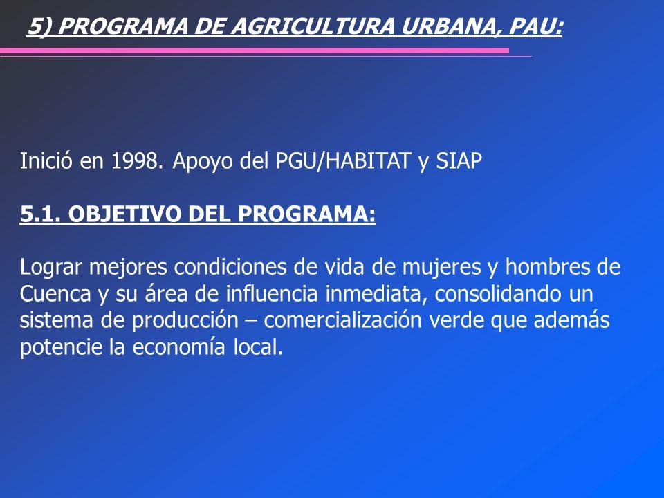 5) PROGRAMA DE AGRICULTURA URBANA, PAU: